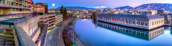 BFM, building and Rhone river, Geneva, Switzerland Stock Image