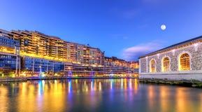 BFM, buildings and Rhone river, Geneva Royalty Free Stock Image