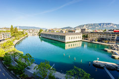 BFM, cathedral tower and Rhone river, Geneva Royalty Free Stock Image