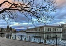 BFM, promenade and Rhone river, Geneva Royalty Free Stock Photo
