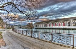 BFM, promenade and Rhone river, Geneva Stock Photo