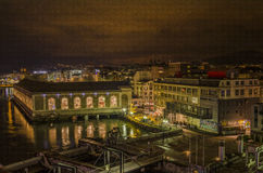 The BFM and Usine at night Geneva Stock Photos