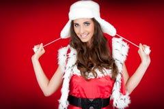 bg逗人喜爱的红色圣诞老人妇女 免版税库存照片