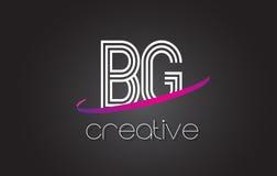 BG B G与线设计和紫色Swoosh的信件商标 免版税图库摄影