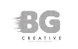BG B G与黑小点和足迹的信件商标 免版税库存照片