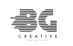 BG B G斑马信件与黑白条纹的商标设计 免版税库存照片