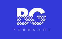 BG B G被加点的信件商标设计有蓝色背景 库存照片