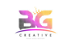 BG B G Letter Logo Design with Magenta Dots and Swoosh Royalty Free Stock Images