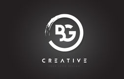 BG Circular Letter Logo with Circle Brush Design and Black Backg Royalty Free Stock Photography