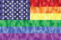 Bög och lesbisk kvinnaregnbågeflagga i poly konstsymbol med den Förenta staterna beståndsdelen Arkivfoto