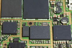 BGA chip on mopbile phone PCB. BGA chip and inductor resister chip on Mobile phone PCB Stock Images