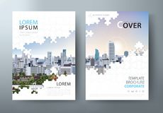 Annual report brochure, flyer design, Leaflet cover presentation abstract flat background, book cover templates, Jigsaw puzzle.