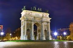 Båge av fred (Porta Sempione) i Milan Fotografering för Bildbyråer
