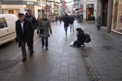 BGEGING OUTLAW IN DENAMRK. Copenhagen/Denmark/ _ 26th November  2015 _Recently danish government has outlaw begging in Denmark and danish government has passed Royalty Free Stock Photography