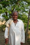 A man poses for a photo while herding cattle outside of Bhadarsa. stock image