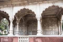 Bhado Pavilion Decorations. Magnificently architectured buildings inside the Red Fort Palace in Delhi. Architectured with white marble and red sandstone, the Royalty Free Stock Images