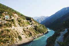 Bhagirathi flod på Gangotri, Uttarkashi område, Uttarakhand, royaltyfri fotografi