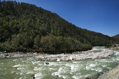 Bhagirathi flod på Gangotri, Uttarkashi område, Uttarakhand, Royaltyfria Bilder