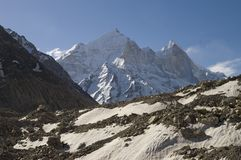 Bhagirathi Parbat and Gangotri glacier royalty free stock photos