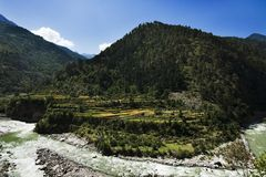 Bhagirathi River at Gangotri, Uttarkashi District, Uttarakhand, Royalty Free Stock Image