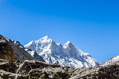 The Bhagirati Peaks in the Indian Himalayas stock images