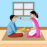 Bhai dooj, brother and sister festival India. In vector stock illustration