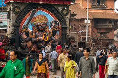 Bhairab statue, god of destroy at Durbar Square in Kathmandu. Kathmandu, Nepal - May 22, 2016: Bhairab statue, god of destroy at Durbar Square in Kathmandu Royalty Free Stock Photo