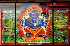 Bhairav. A fine art of Bhairava, God of Death, found on one of the temple of Nepal stock photography