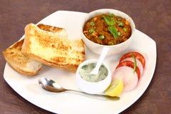 Bhaji Chaat, piatto indiano del Pav del curry Fotografie Stock Libere da Diritti