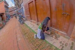 BHAKTAPUR,尼泊尔- 2017年11月04日:使用与在被找出的老和土气镇街道的一条狗的未认出的妇女  库存照片