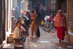 Bhaktapur - colorful town stock photography