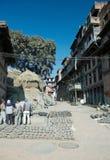 bhaktapur durbar市场瓦器正方形 库存照片