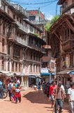 Bhaktapur Durbar广场义卖市场 免版税库存图片