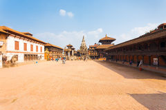 Bhaktapur Durbar Square Entire Wide Angle View H Stock Image