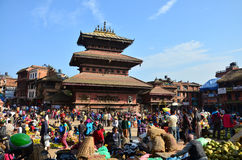 Bhaktapur Durbar Square market for tour and shopping Stock Images