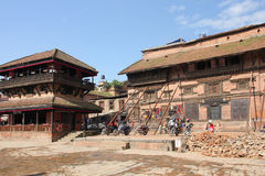 Bhaktapur Durbar Square, Nepal after the earthquake in 2015 Stock Images