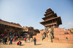 Bhaktapur Durbar Square is the plaza in front of the royal palace of the old Bhaktapur Kingdom. BHAKTAPUR, NEPAL - CIRCA DEC, 2013: Bhaktapur Durbar Square is Stock Photography