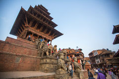 Bhaktapur Durbar Square is the plaza in front of the royal palace of the old Bhaktapur Kingdom. BHAKTAPUR, NEPAL - CIRCA DEC, 2013: Bhaktapur Durbar Square is Royalty Free Stock Photo
