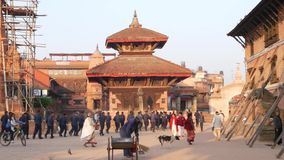 BHAKTAPUR, KATHMANDU, NEPAL - 18 Armed police officers and soldiers wearing uniform training. Communist Party power. Maoist policeman security guard. Daily stock video