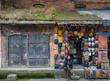 Bhaktapur, magasin de souvenir du Népal Image libre de droits