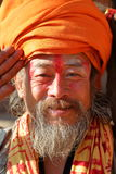 BHAKTAPUR, NÉPAL - 31 DÉCEMBRE 2014 : Portrait d'un homme de Sadhu Holy Photos libres de droits