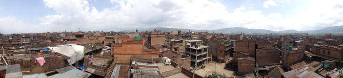 BHAKTAPUR,NEPAL-April 2015: panorama view of town in Bhaktapur D Stock Image
