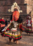 BHAKTAPUR, NEPAL -  APRIL 19, 2013: Unknown Lama performs a ritu Royalty Free Stock Photos