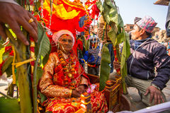 BHAKTAPUR, NEPAL -   children during Birthday celebration head of family Stock Images