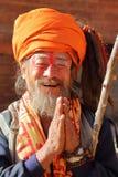 BHAKTAPUR, NEPAL - 31 DICEMBRE 2014: Ritratto di un uomo di Sadhu Holy Fotografie Stock Libere da Diritti