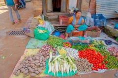 BHAKTAPUR NEPAL, LISTOPAD, - 04, 2017: Żeński sprzedawca uliczny Warzywo sprzedawca i właściciel przy Bhaktapur Nepal W każdy Obrazy Royalty Free