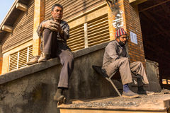 BHAKTAPUR, NEPAL - local people work at the Brick Factory. Royalty Free Stock Image