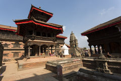 BHAKTAPUR, NEPAL-MAY 09, 2014: Every day crowds of tourists visi Royalty Free Stock Photo