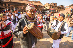 BHAKTAPUR, NEPAL -  musicians during Birthday celebration head of family Royalty Free Stock Images