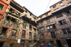 BHAKTAPUR, NEPAL -  Nepali house in the city center. Stock Image